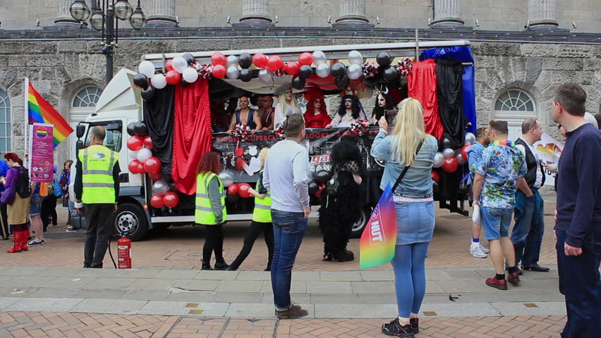 Drag Queens in the truck on Victoria Square -  Birmingham Gay Pride, England 2015