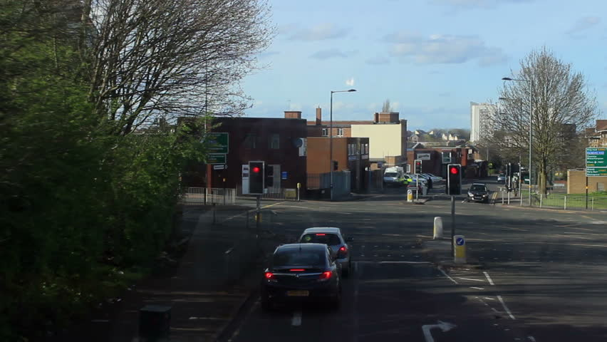 Double-decker bus ride through Birmingham, England - time lapse. View from the second floor of the bus - Newtown - Birchfield - Witton - River Tame