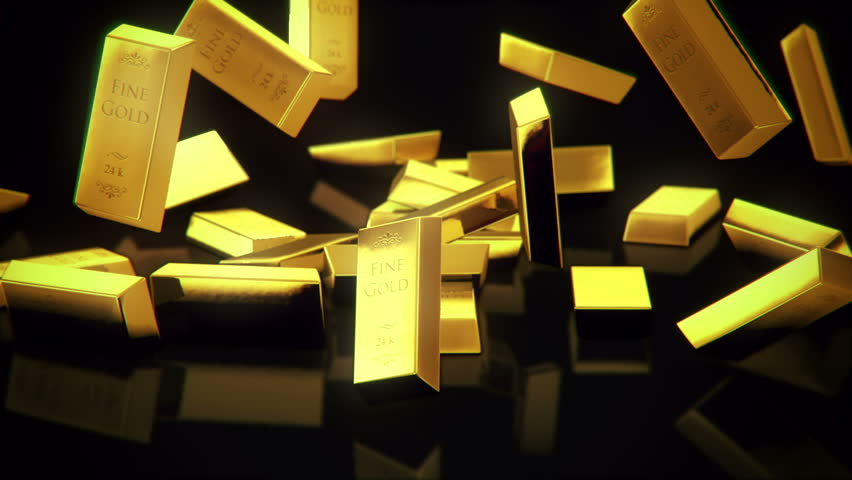 shiny gold bars falling in slow-motion rendered with high resolution in Full HD - HD stock video clip