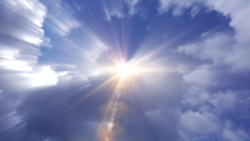 Heavenly Blue Sky Clouds Angel Light Stock Footage Video