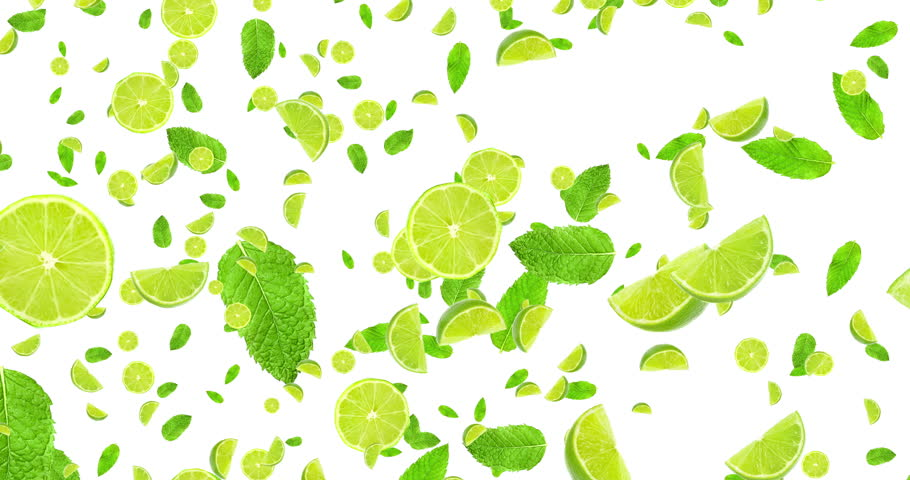 digital animation fruits citrus lime slices and mint leaf flying on white background, loop seamless. 4K and 1080 resolution. Cocktail mojito ingredients, party concept
