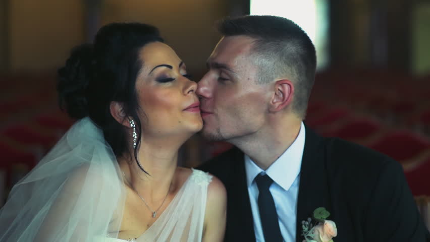 newlyweds kiss slow motion - HD stock footage clip