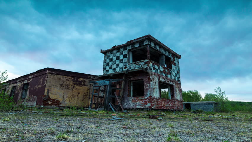 Abandoned military airfield.Destroyed control tower military airfield