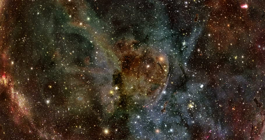 Flying Through Stars and Nebulae - Blue/Orange The camera flies through a star field against the backdrop of a Hubble like nebula.