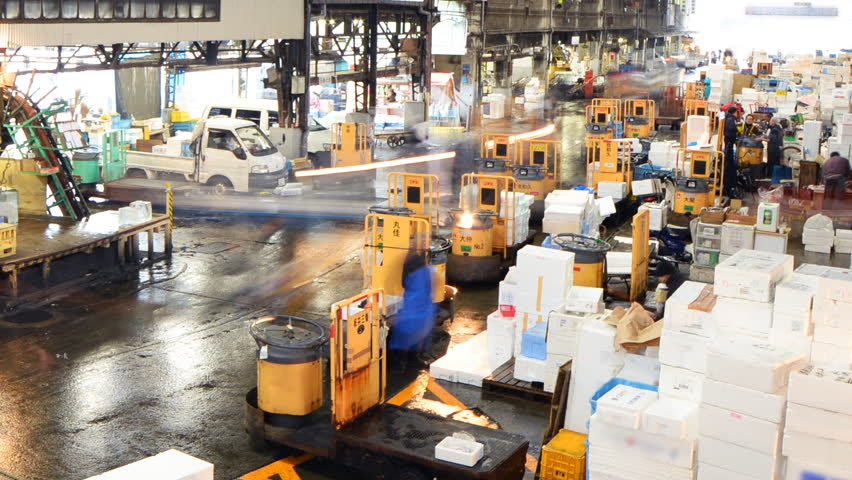 TOKYO, JAPAN -February 26th, 2015: Time lapse footage of Tsukiji Fish Market in Tokyo, Japan -Close Up 2-