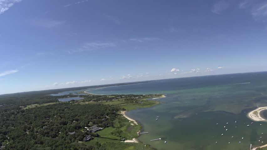 Martha's Vineyard N coast 4k aerials. - 4K stock footage clip