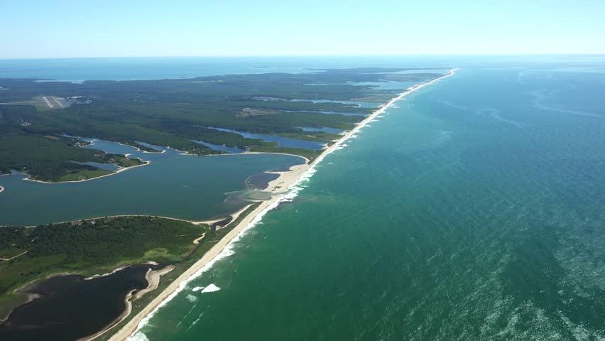 Martha's Vineyard S Coast heading east, 4k aerials. - 4K stock footage clip