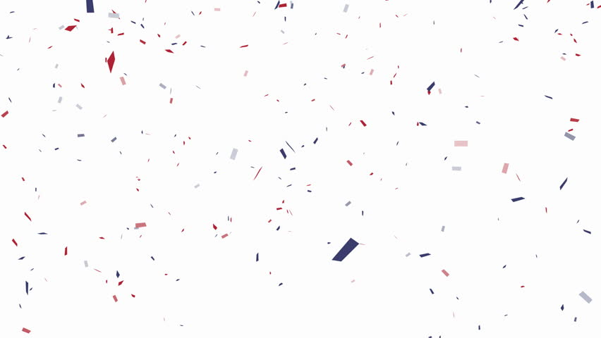 Blue, red and white confetti on white background  alpha channel included - 4K stock footage clip
