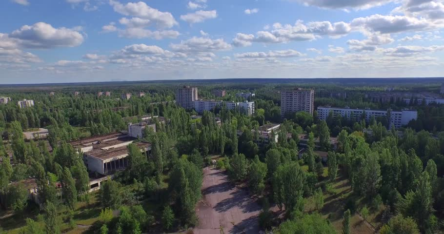 A Ferris wheel in Pripyat, near Chernobyl (Aerial, 4K). Pripyat's iconic Ferris wheel in Amusement Park.  The giant Ferris wheel was never loaded. The park was only opened for one day.  | Shutterstock HD Video #11162069