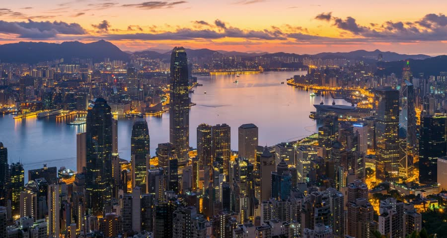 4K Timelapse Movie Night to Day of Hong Kong Skyline | Shutterstock HD Video #11174147