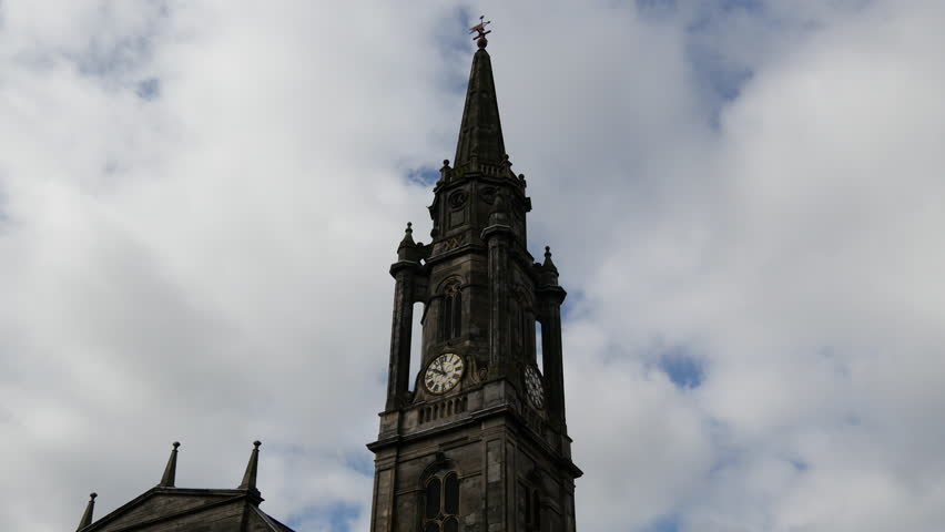 Bell sound from Cathedral downtown Edinburgh Scotland - 4K stock footage clip