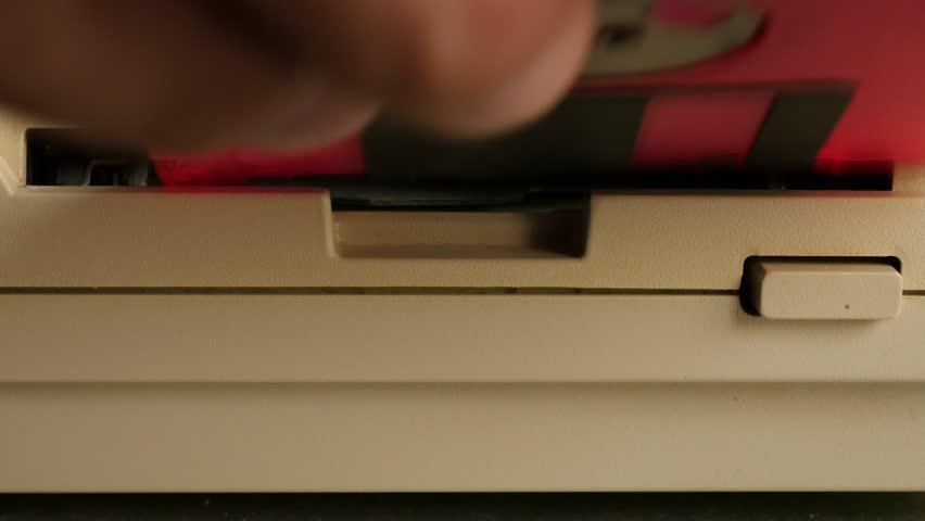 floppy disk in retro  puter diskette reader 4k 3840x2160 uhd footage