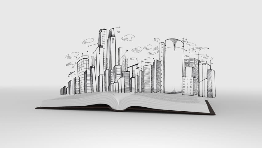 Digital animation of Book opening to show cityscape sketch | Shutterstock HD Video #11259251