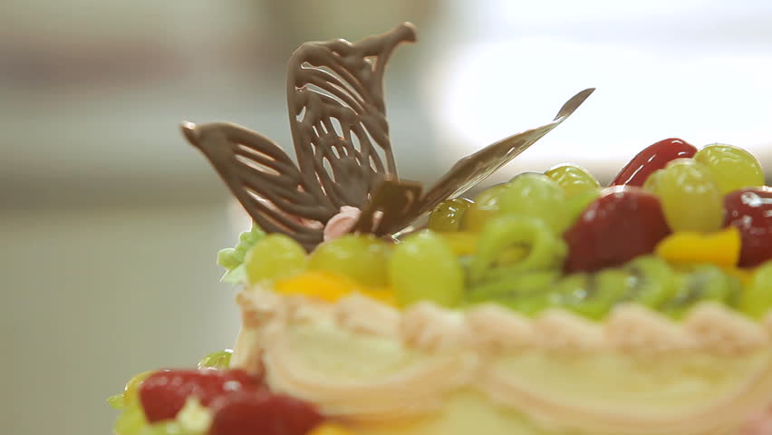 Cake Decorating. Big Beautiful Cream Cake Decorated With ...