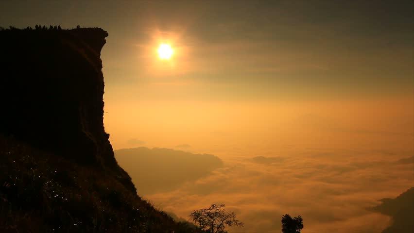 Landscape sunrise in nature at Phu chi fa in Chiang rai,Thailand  - 4K stock video clip