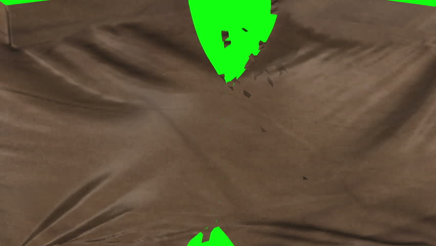 Brown suede leather material ripped transition with green screen and alpha