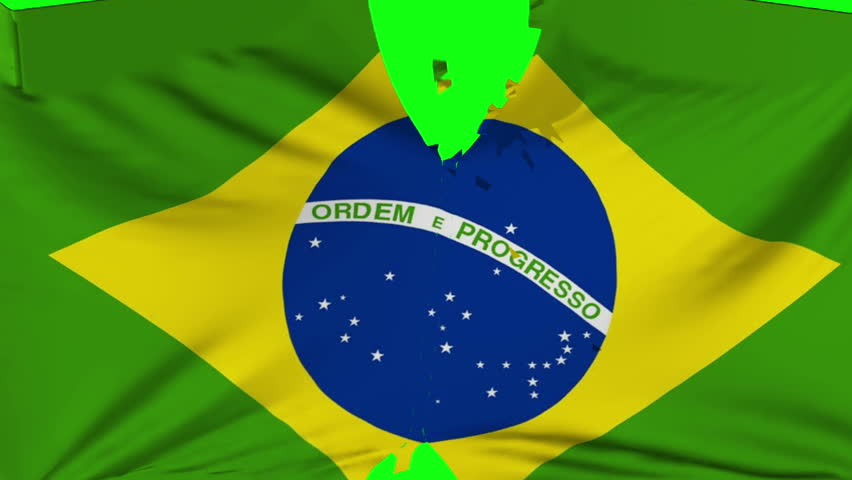 Brazil flag ripped transition with green screen and alpha