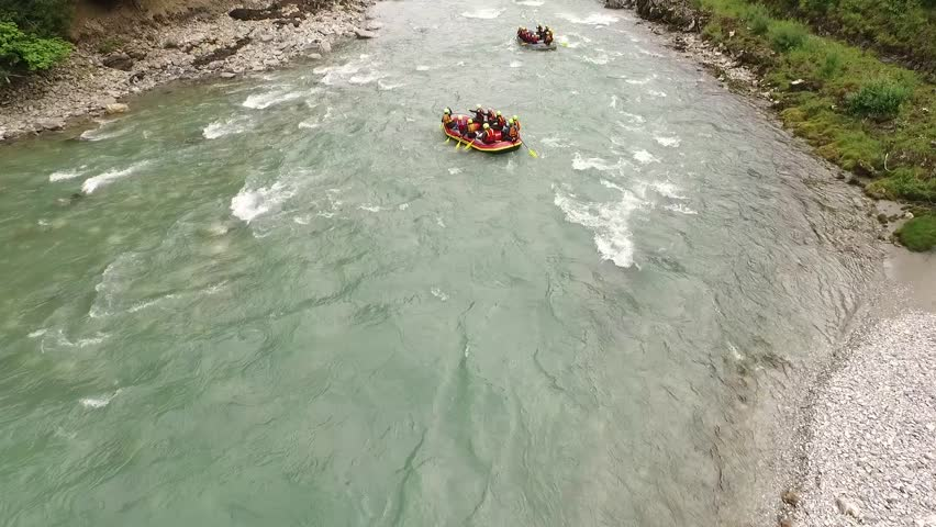 River Rafting sport, fun on the wild water in Austria - HD stock footage clip