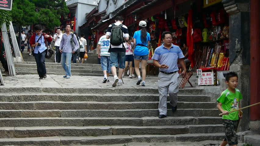 Aug 25,2015:China tourists walking in mountain stone steps. gh2_02297