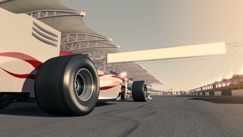 racecar speeding along the racetrack - low viewing angle - high quality 3d animation