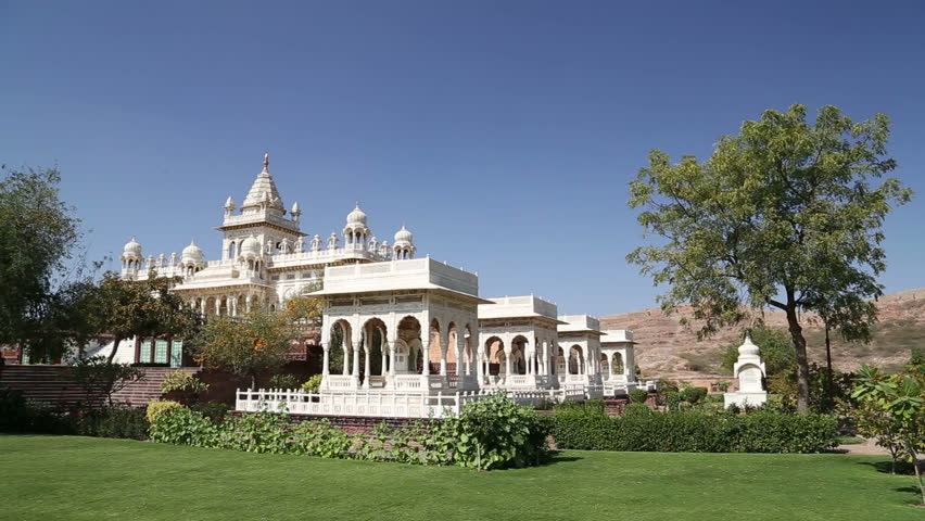 View on garden by Jaswant Thada temple in Jodhpur. - HD stock video clip