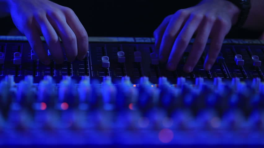 Hand of the sound producer - HD stock footage clip