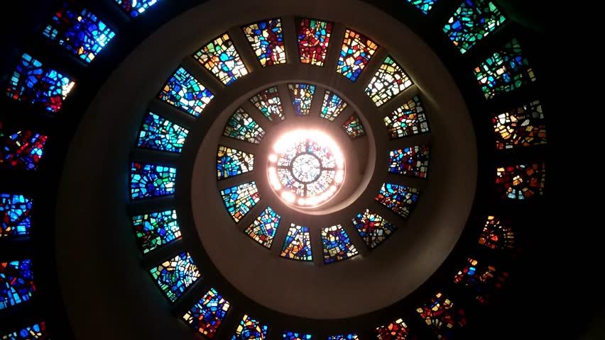 Dallas, Texas - Rotating interior shot of the Thanks Giving Chapel.
