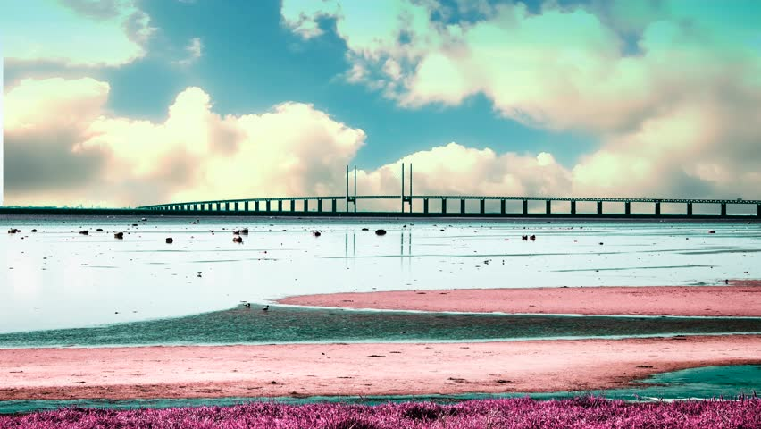 Oresund Bridge, oresundsbron, bridge on the sea ,architecture landscape in sweden,bridge between Denmark and Sweden - 4K stock footage clip