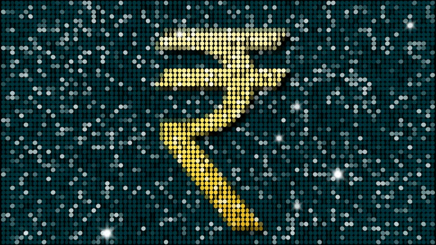 Indian rupee symbol - loopable  - 4K stock video clip