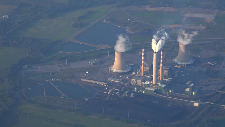 Nuclear power station aerial view in Homer City,Pa. Coal burning and toxic fuel fuel cause great environmental damage.