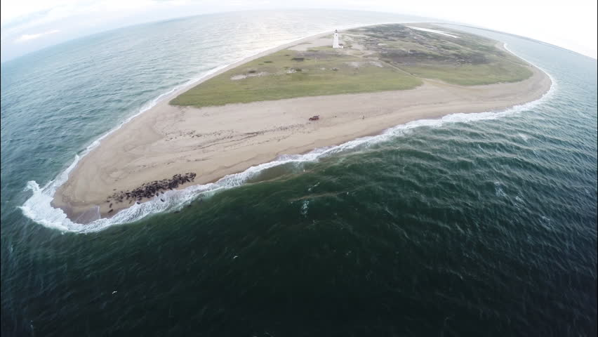 Nantucket aerial drone footage. Aerial bird's eye view. Seals and lighthouse in Nantucket, Massachusetts. 1080p HD. - HD stock video clip
