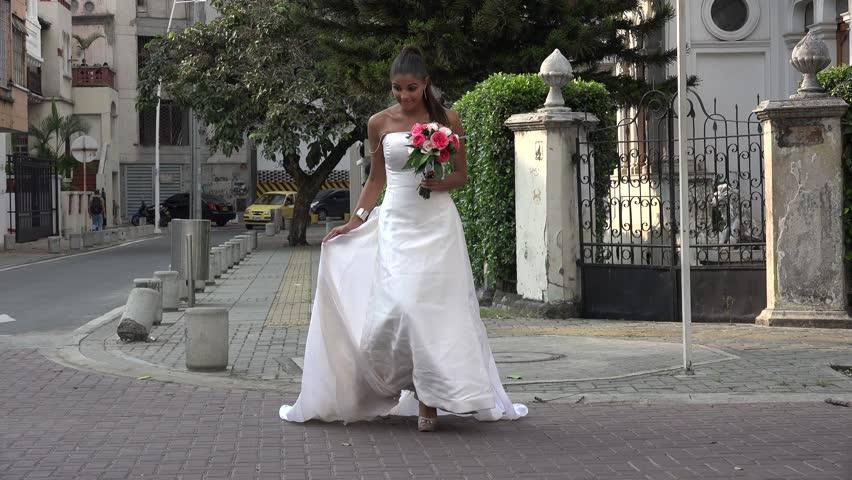 Bride Crossing Street - 4K stock video clip