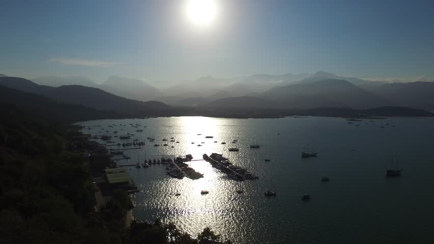 Beautiful sunset aerial view with boats at Paraty, Rio do Janeiro, Brazil. | Shutterstock HD Video #11612393