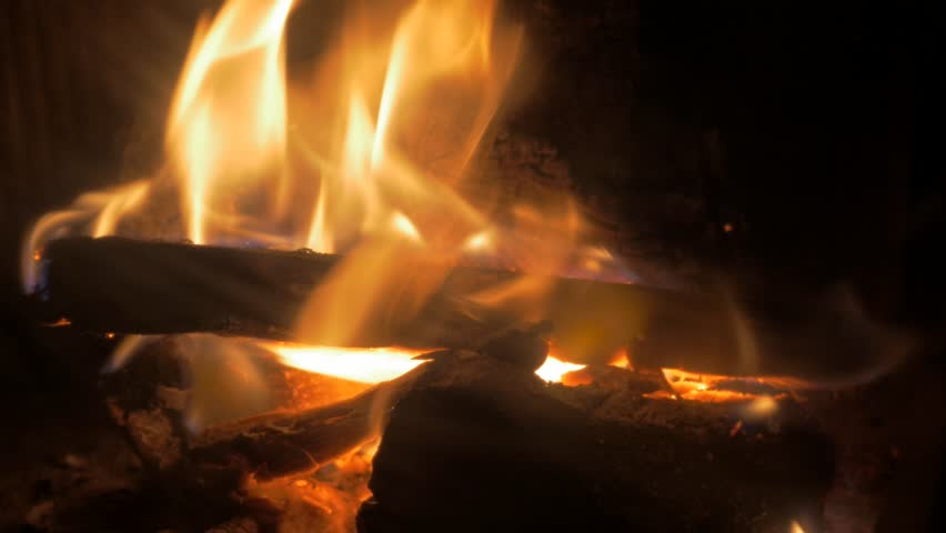 Close-up Fire Burning In The Fireplace With Tree Logs 4K 3840X2160 ...