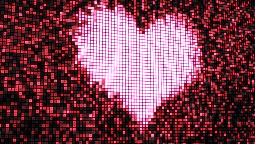 heart shape on digital screen seamless loop - HD stock footage clip
