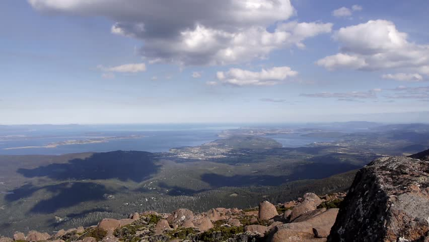 Timelapse view from the Summit of famous Mt. Wellington in Hobart, Tasmania, Australia's south island.  Shot on a mostly sunny day and sped up to show the movement and development of the clouds.