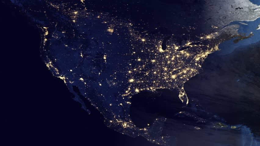 Night Cities From The Satellite. Europe. NASA Photo. HD ...