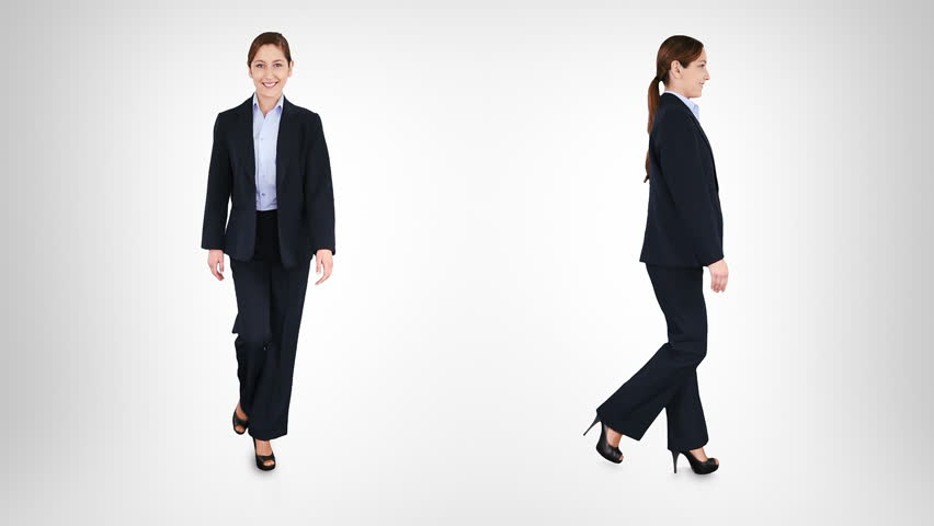 Beautiful businesswoman walking over white background with alpha matte. 2 in 1. Lateral and frontal view. More options in my portfolio.