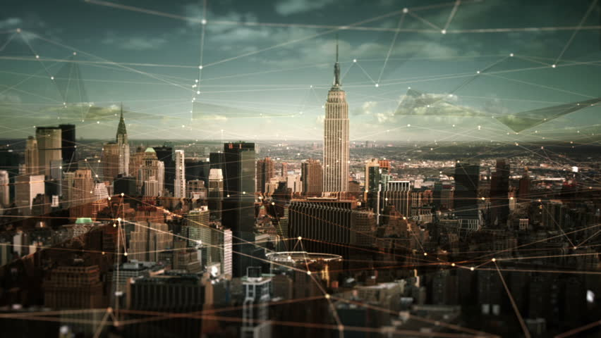 Aerial view of Manhattan Skyline with connections. Technology-Futuristic. Shot of midtown Manhattan at daylight. Empire State Building, Chrysler Building, Madison Square Garden.