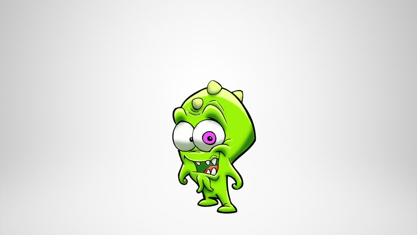 Happy Monster Jumping Alpha Matte Classic Animated