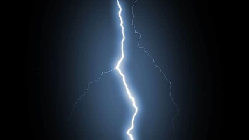 Several lightning strikes over black background. Blue. Electrical Storm. More options in my portfolio.