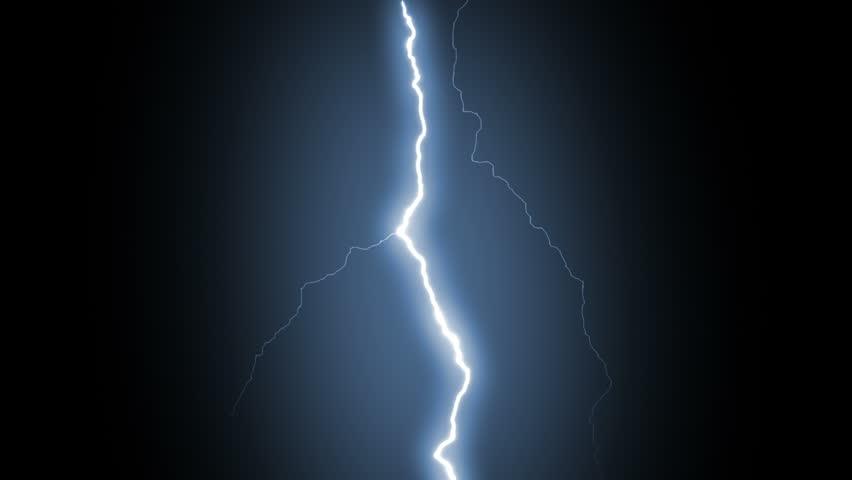 Several lightning strikes over black background. Blue. Electrical Storm. More options in my portfolio.