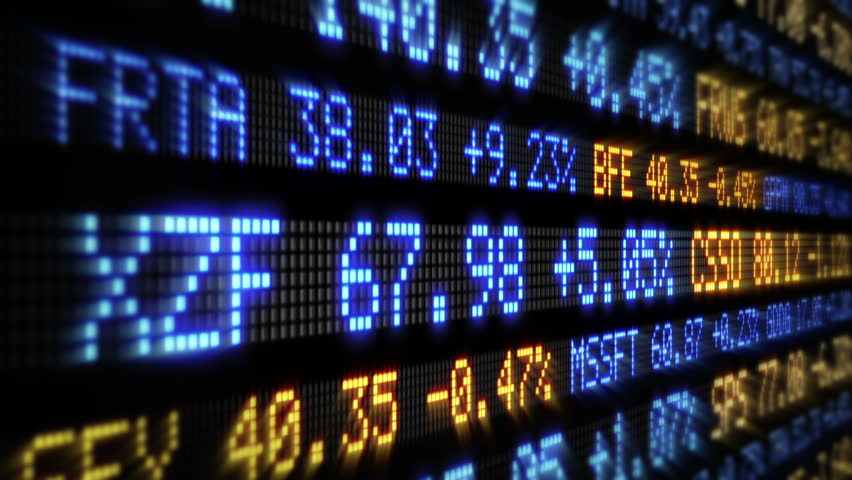 Stock Market Tickers Loopable Blue Orange And Red Green