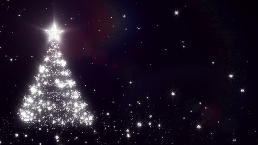 Christmas background with bright snow. Black. Bright snowflakes falling forming a Christmas tree, with space for your text. Loopable from frame 391 to the end. - HD stock video clip