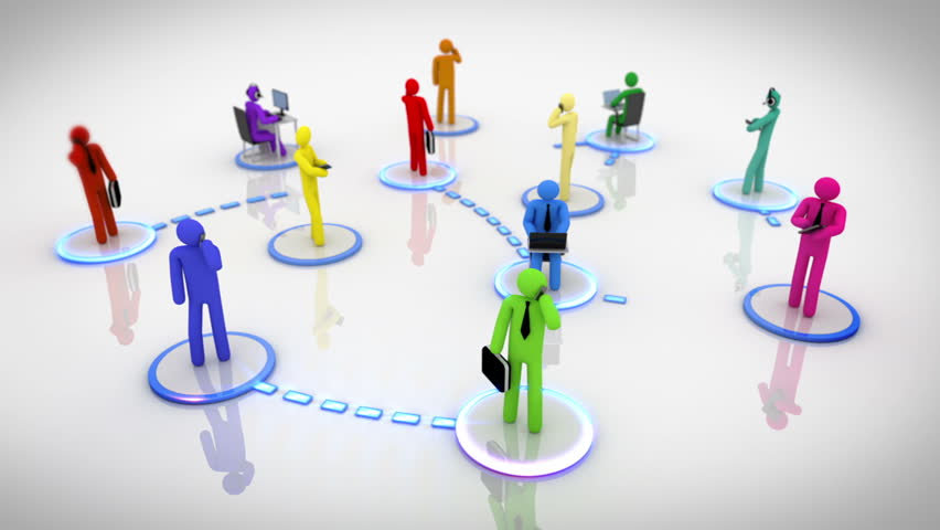 Social network with moving connections. Multicolored. Animation representing the network concept, every character is connected to each other. Loopable. White background. - HD stock footage clip