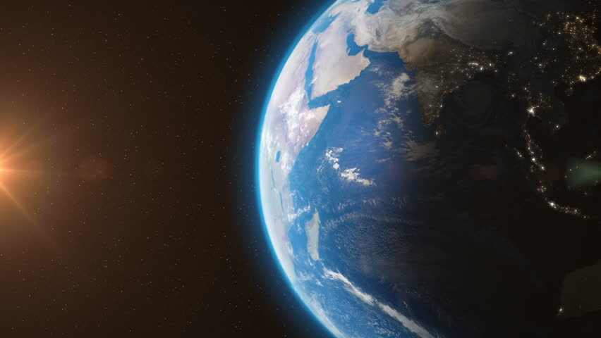Earth Orbit From Space - 3D Animation