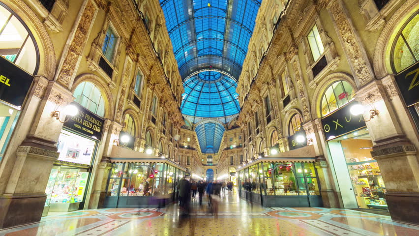 Milan city famous shopping duomo gallery panorama 4k time lapse italy | Shutterstock HD Video #11807873