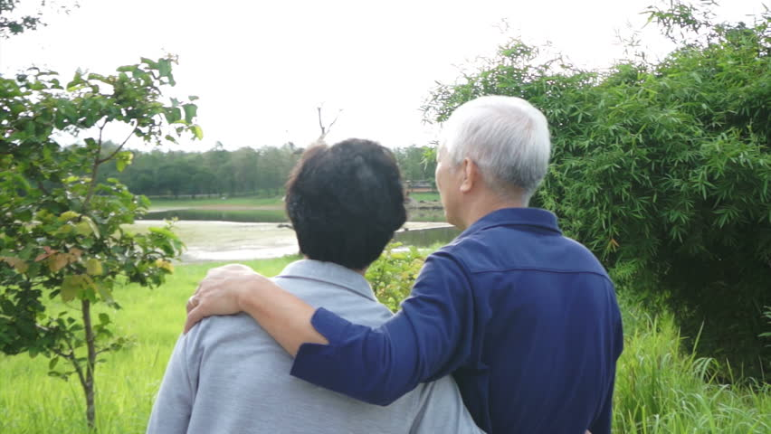 Video of Happy asian senior couple pointing, talking and walk through the park with mountain background - HD stock video clip