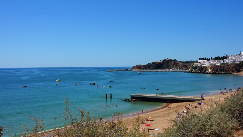 Albufeira, Praia dos Pescadores -  Algarve, Portugal  - 4K stock footage clip
