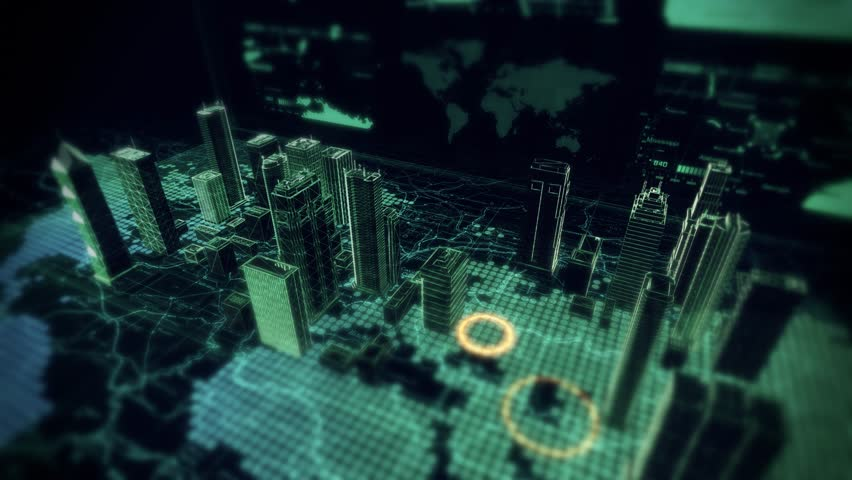 Cybernetic City Hologram Flyover Displayed On Top Of